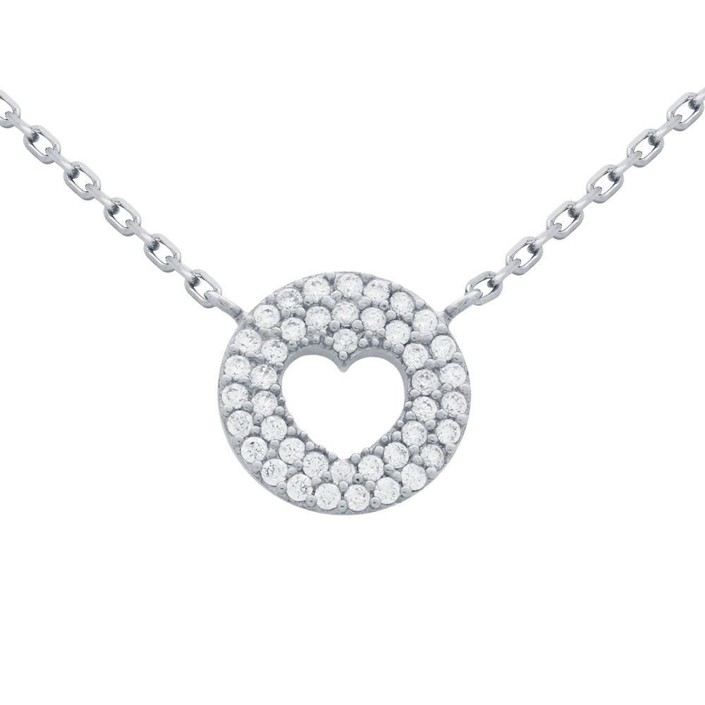 Cutout heart with Fine CZ Pave Disk - Necklace
