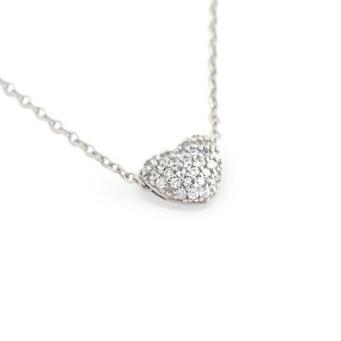 Heart Slider Double Sided fine CZ Platinum Finish - Necklace