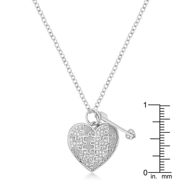 Heart and Arrow Pendant with FIne CZ - Necklace