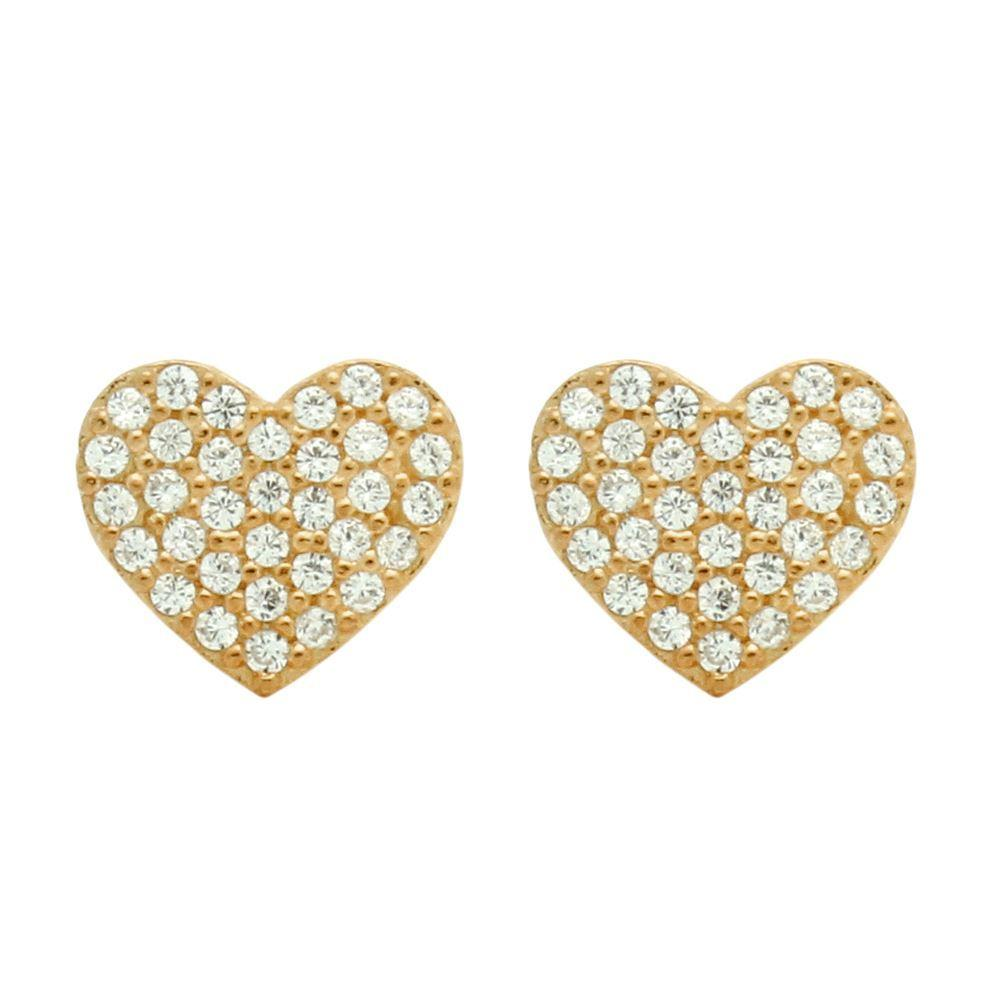 Heart with Fine CZ Pave Rose Gold finish - Earrings