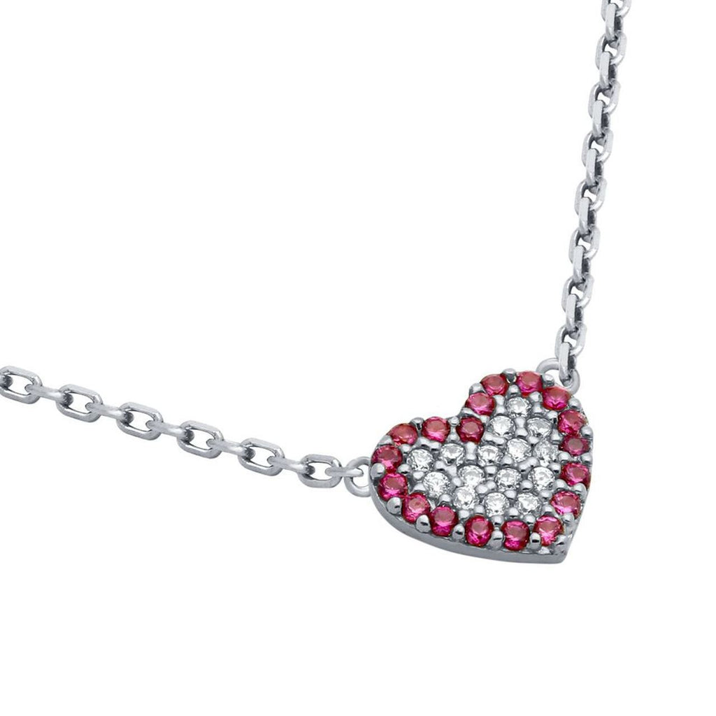 Heart with Fine CZ and Pink Outline in Platinum Finish - Necklace