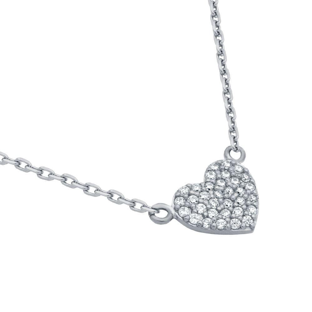 Pave Heart with Fine CZ - Necklace