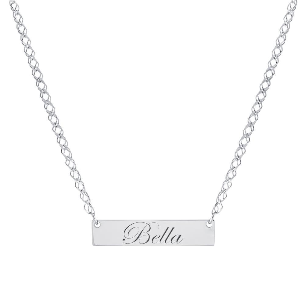 Bar One Name with Cursive letters Gold or Platinum finish Necklace