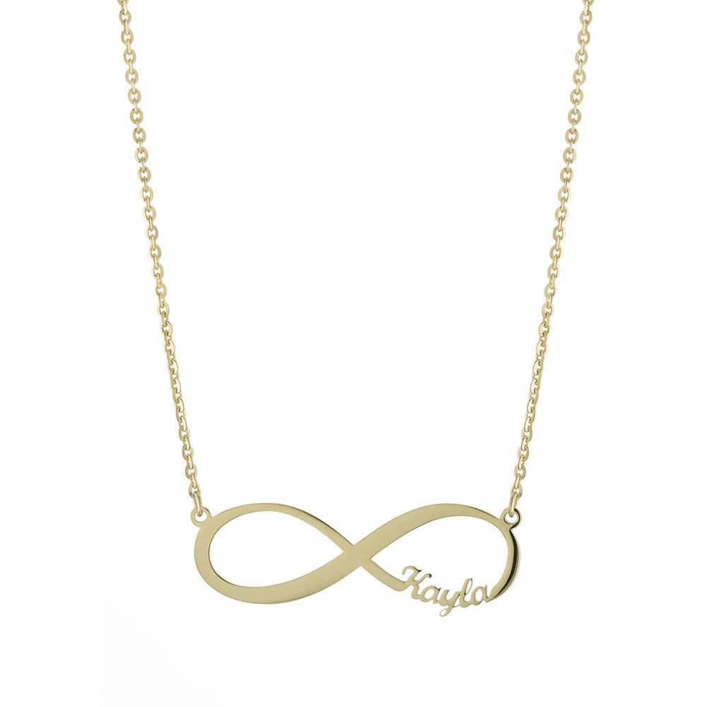 Eternity One name Gold or Platinum finish Necklace