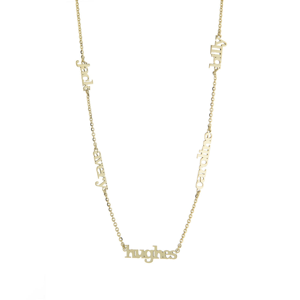 Five Name with Block Letters Gold finish Necklace
