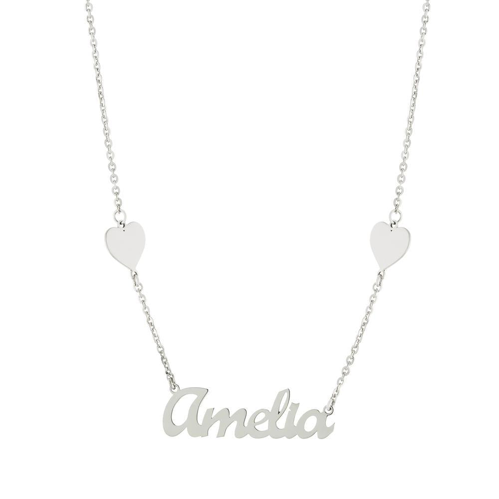 Heart on sides with one name in Gold or Platinum finish Necklace