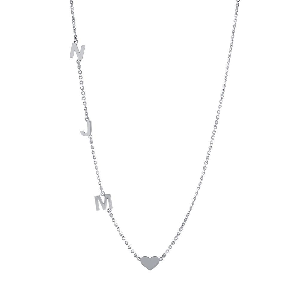 Heart with three letters on side Gold or Platinum finish Necklace