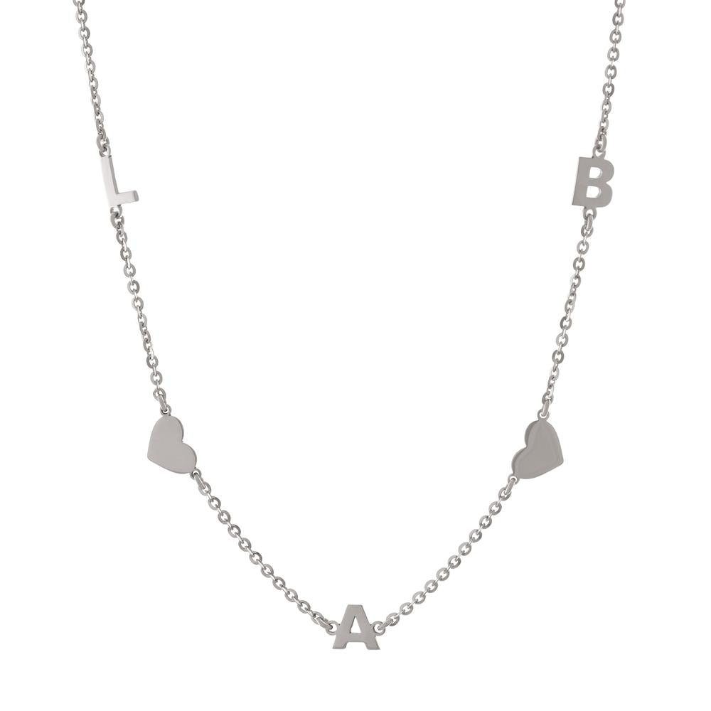 Three letters with Hearts with Gold or Platinum finish Necklace