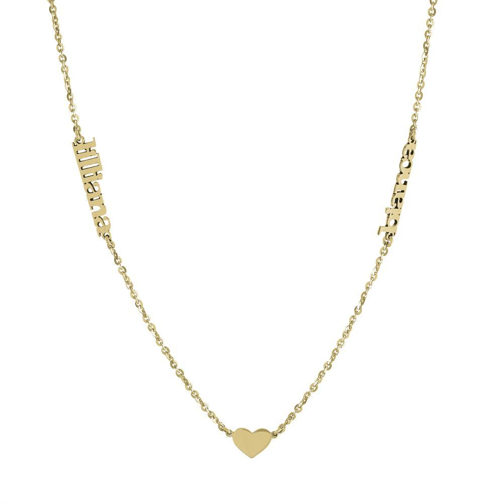 Heart with two names on side with Gold and Platinum finish Necklace