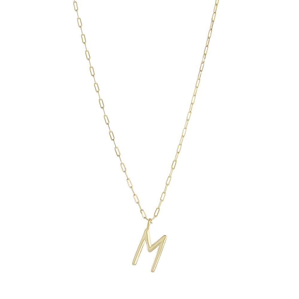 One Initial on Paperclip Chain with Gold or Platinum finish Necklace