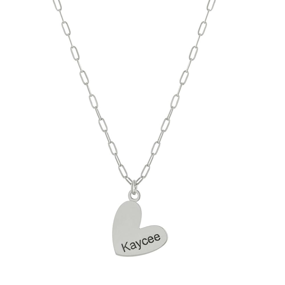 One Name with Heart on Paperclip Chain with Gold or Platinum finish Necklace