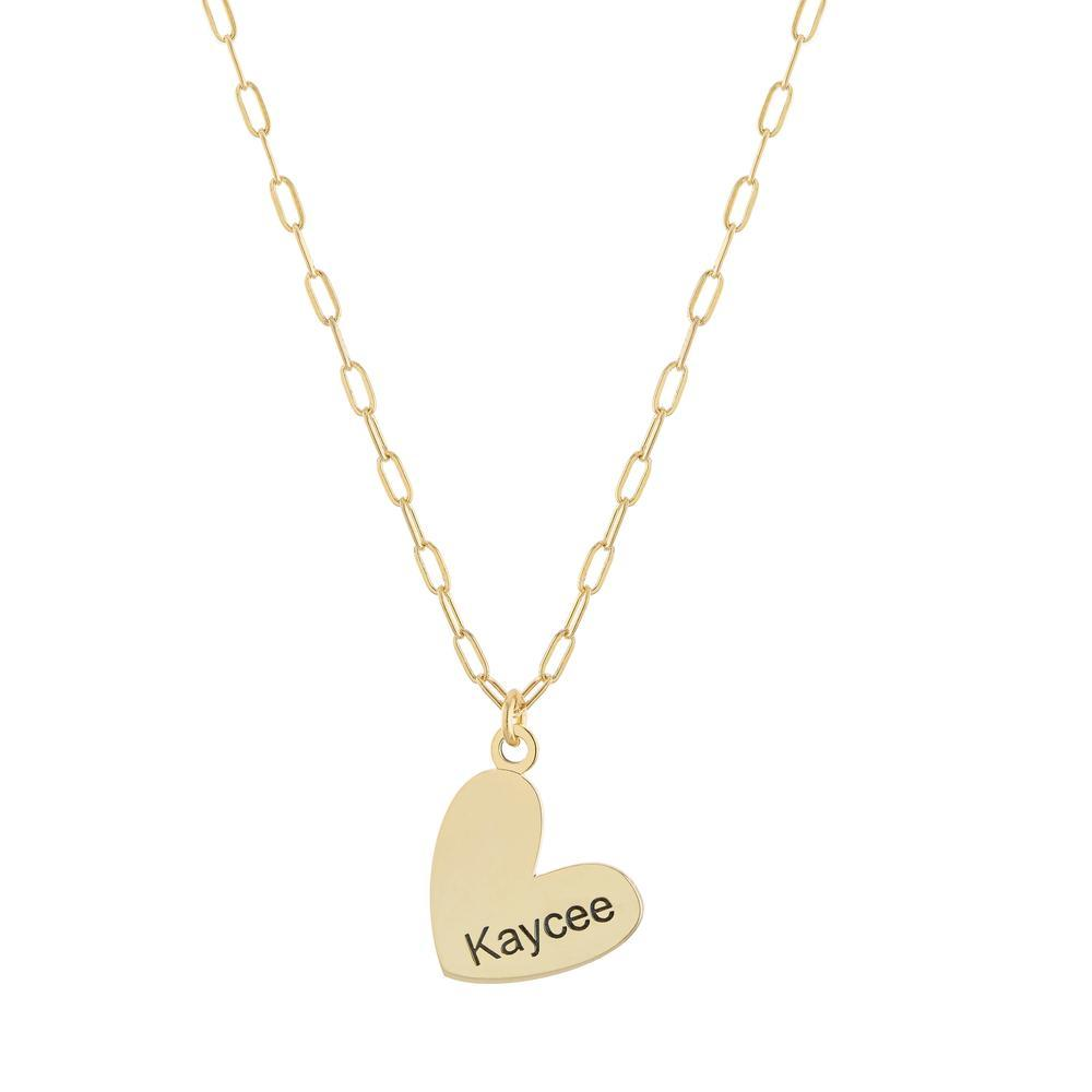 Personalized Name in Heart on Paperclip Chain Gold or Platinum finish Necklace