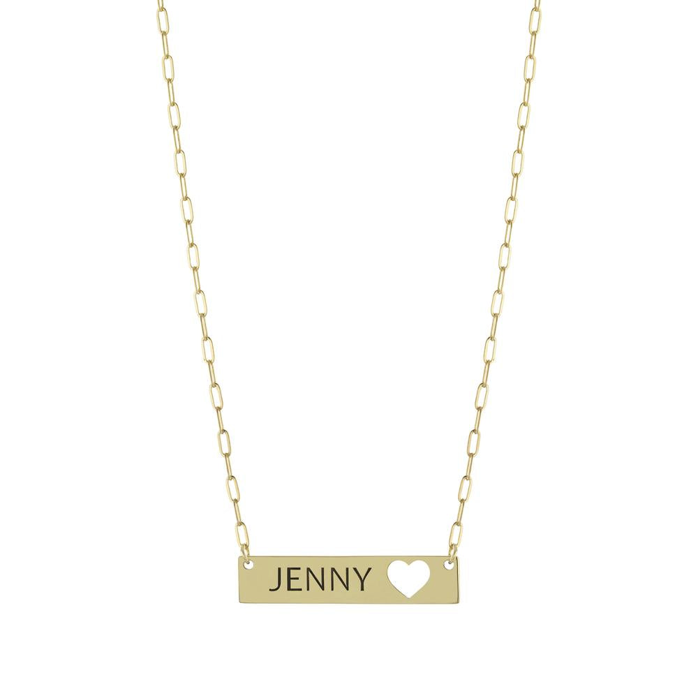 Personalized Name in Tag with Heart on Paperclip Chain Gold or Platinum finish Necklace