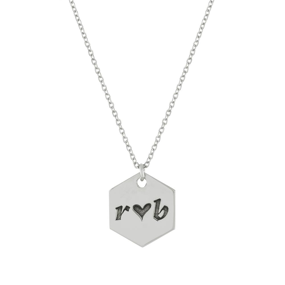 Octagon with Heart and two letters with Gold or Platinum finish Necklace