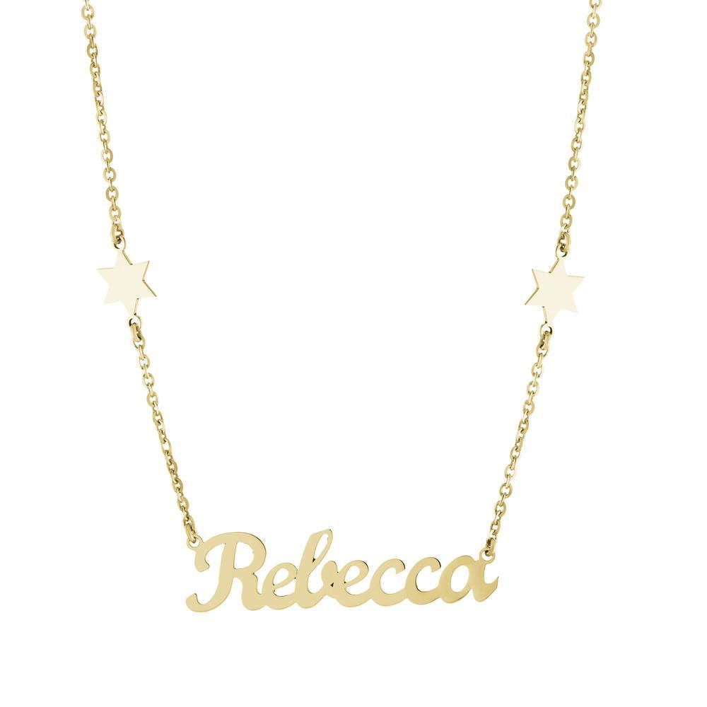 Star of David on sides with one name in Gold or Platinum finish Necklace