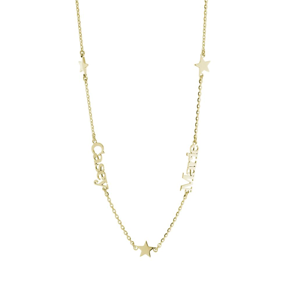 Star on sides with two names in Gold or Platinum finish Necklace