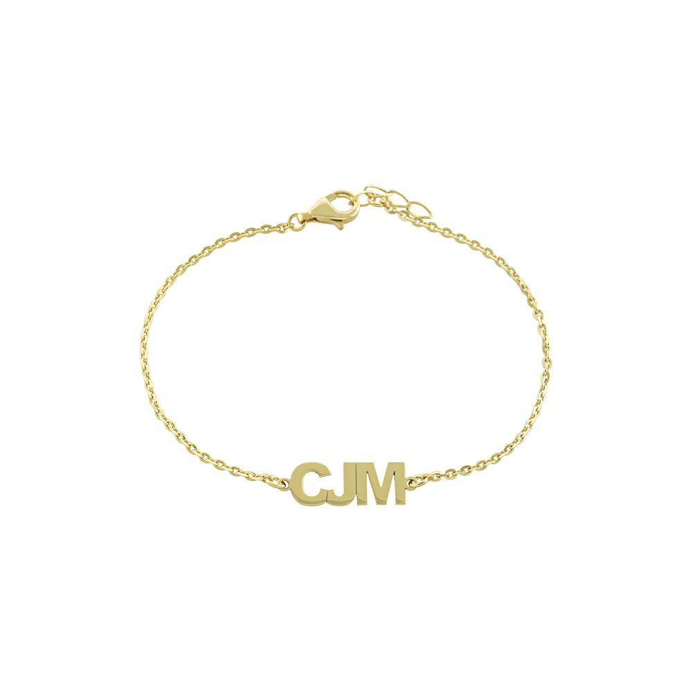 Three Block Letters Gold or Platinum finish Bracelet