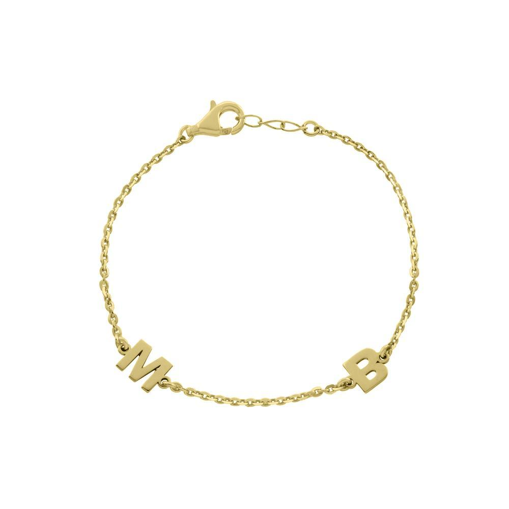 Two Block Letters Gold or Platinum finish Bracelet