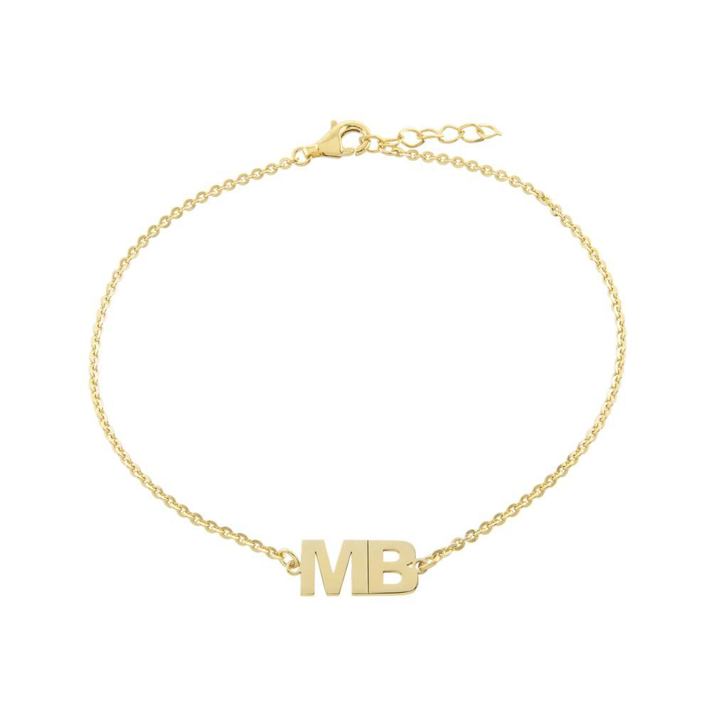 Two Block Letters together Gold or Platinum finish Bracelet