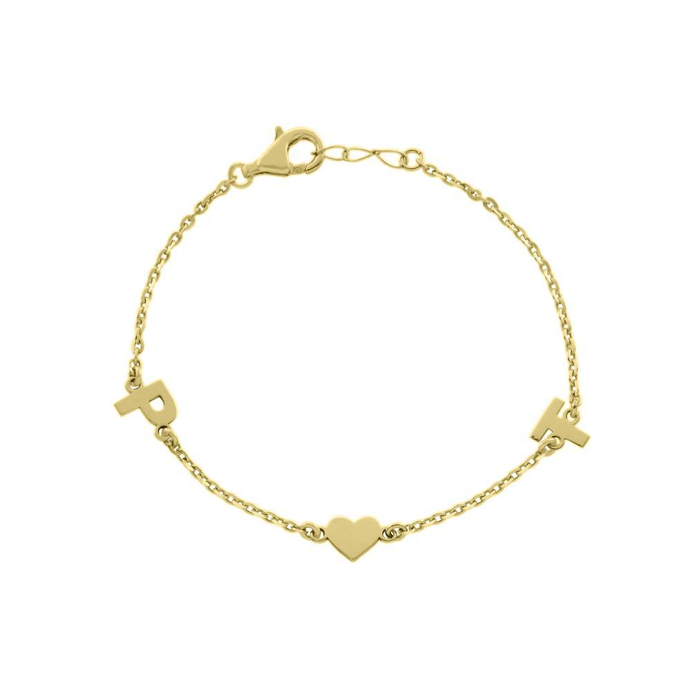 Two letters with heart Gold or Platinum finish Bracelet