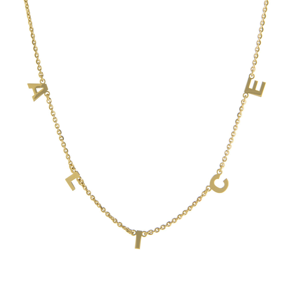Five Block Letters Gold or Platinum finish Necklace