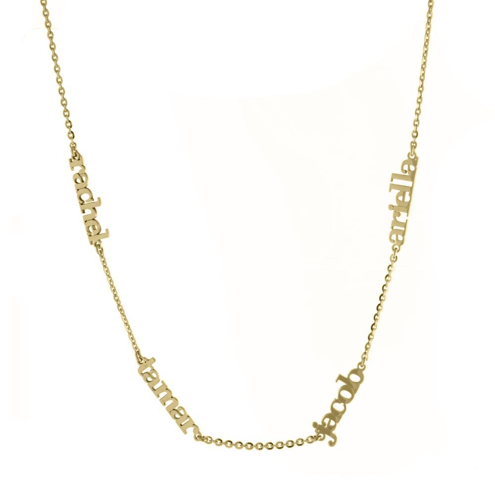 Four Name with Gold or Platinum Block Letters finish Necklace