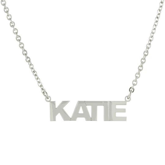 One Name All Caps with Block letters Gold or Platinum finish Necklace