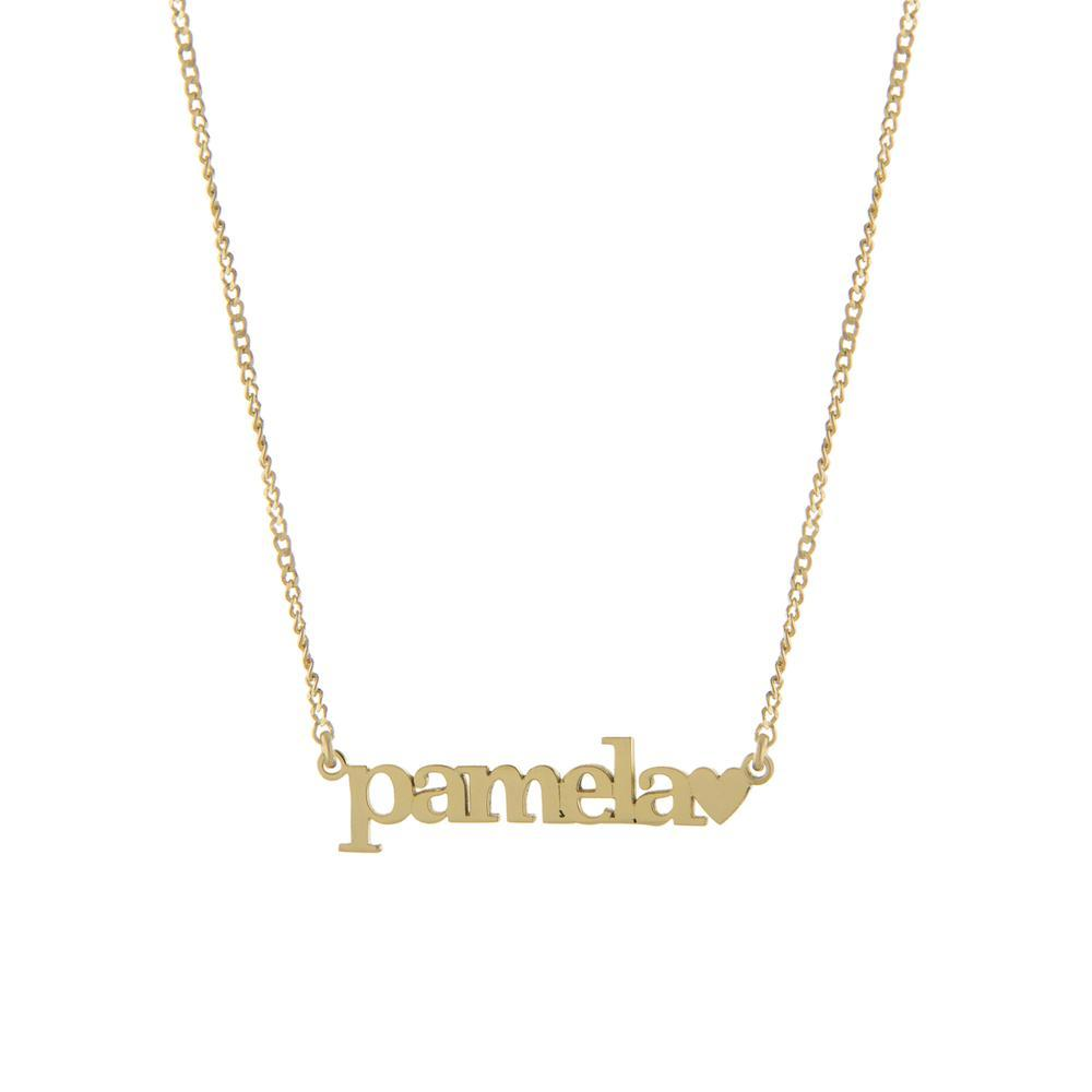 One Name with Block Letters and Heart with Gold or Platinum finish Necklace