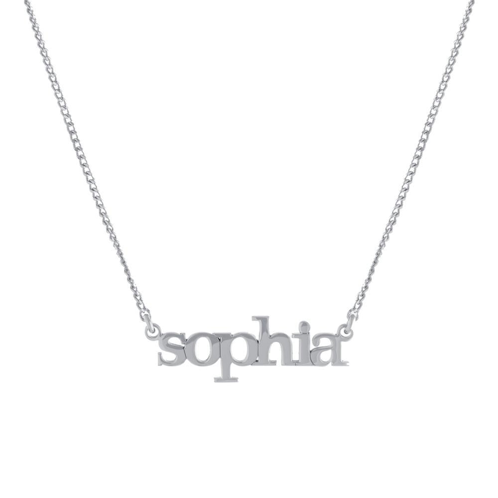 One Name with Block letters Gold or Platinum finish Necklace