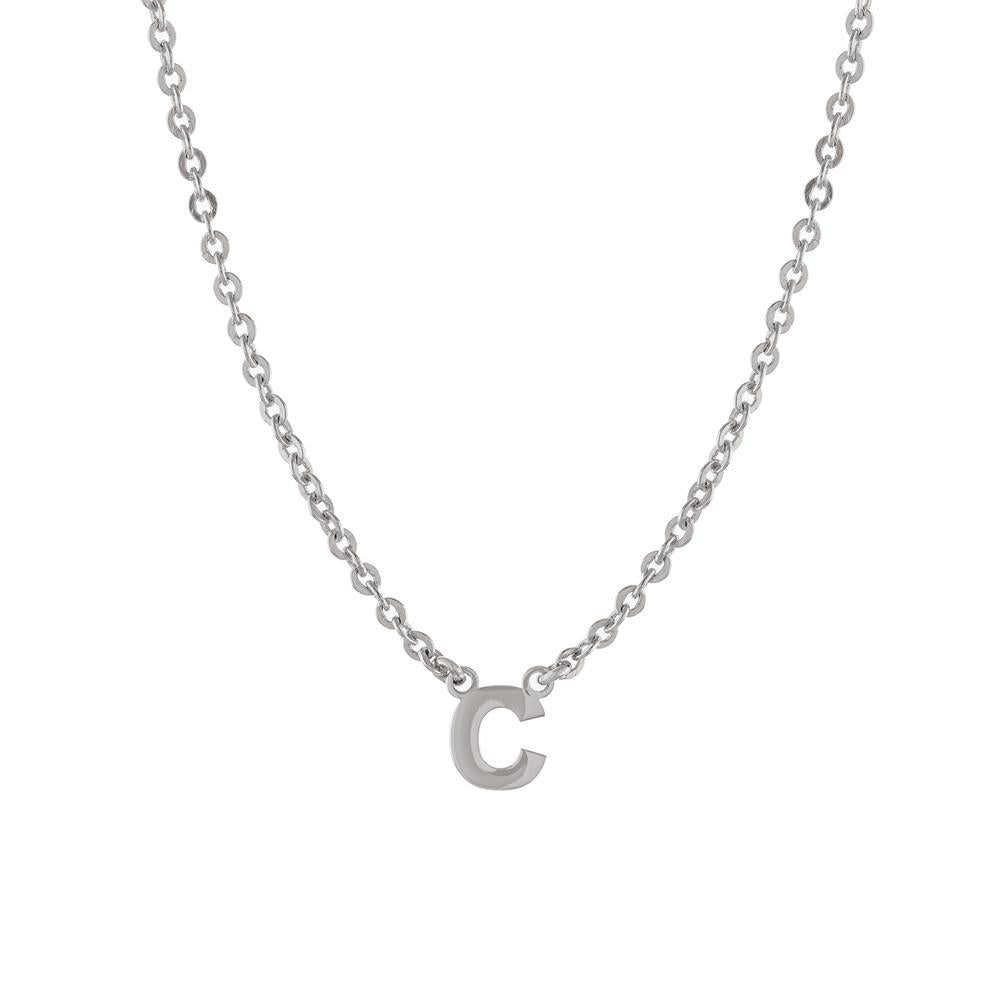 One letter in a Block Capital letter in Gold or Platinum finish Necklace