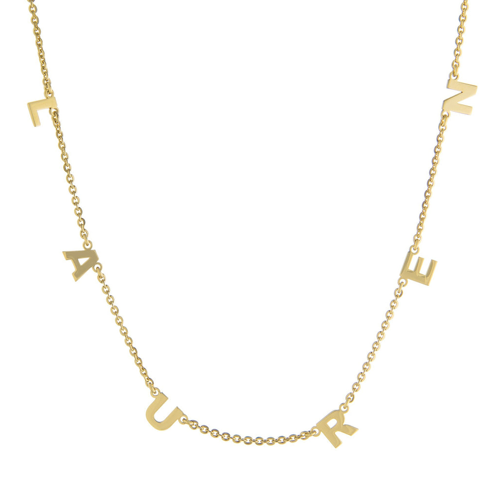 Six Block Letters Gold or Platinum finish Necklace