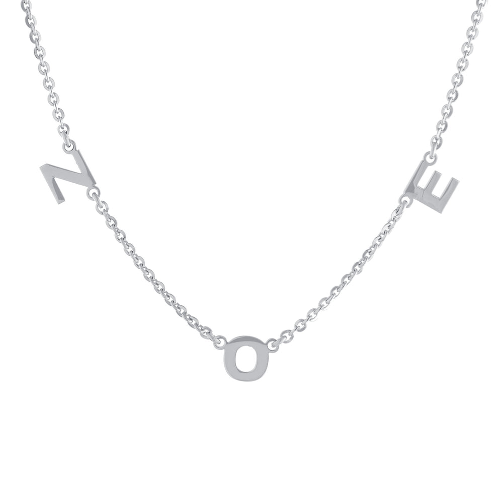 Three Block Letters Gold or Platinum finish Necklace