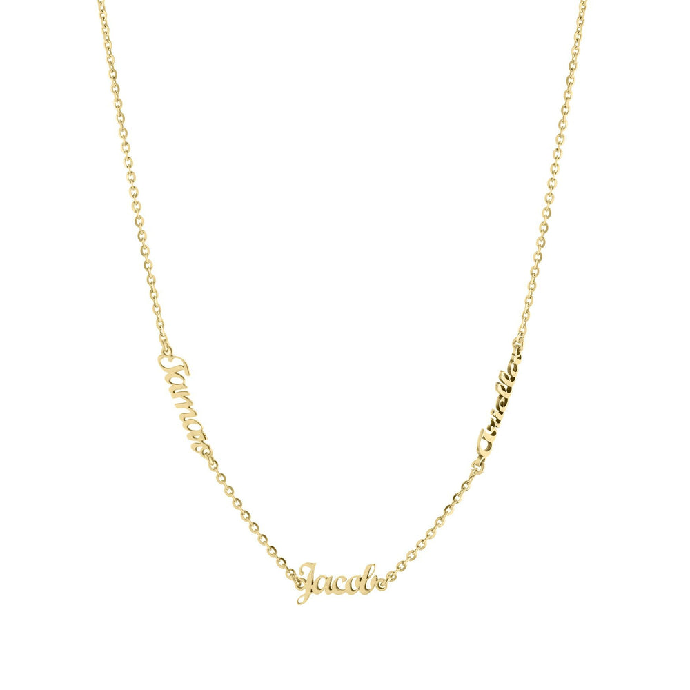 Three Name with Cursive Letters Gold or Platinum finish Necklace