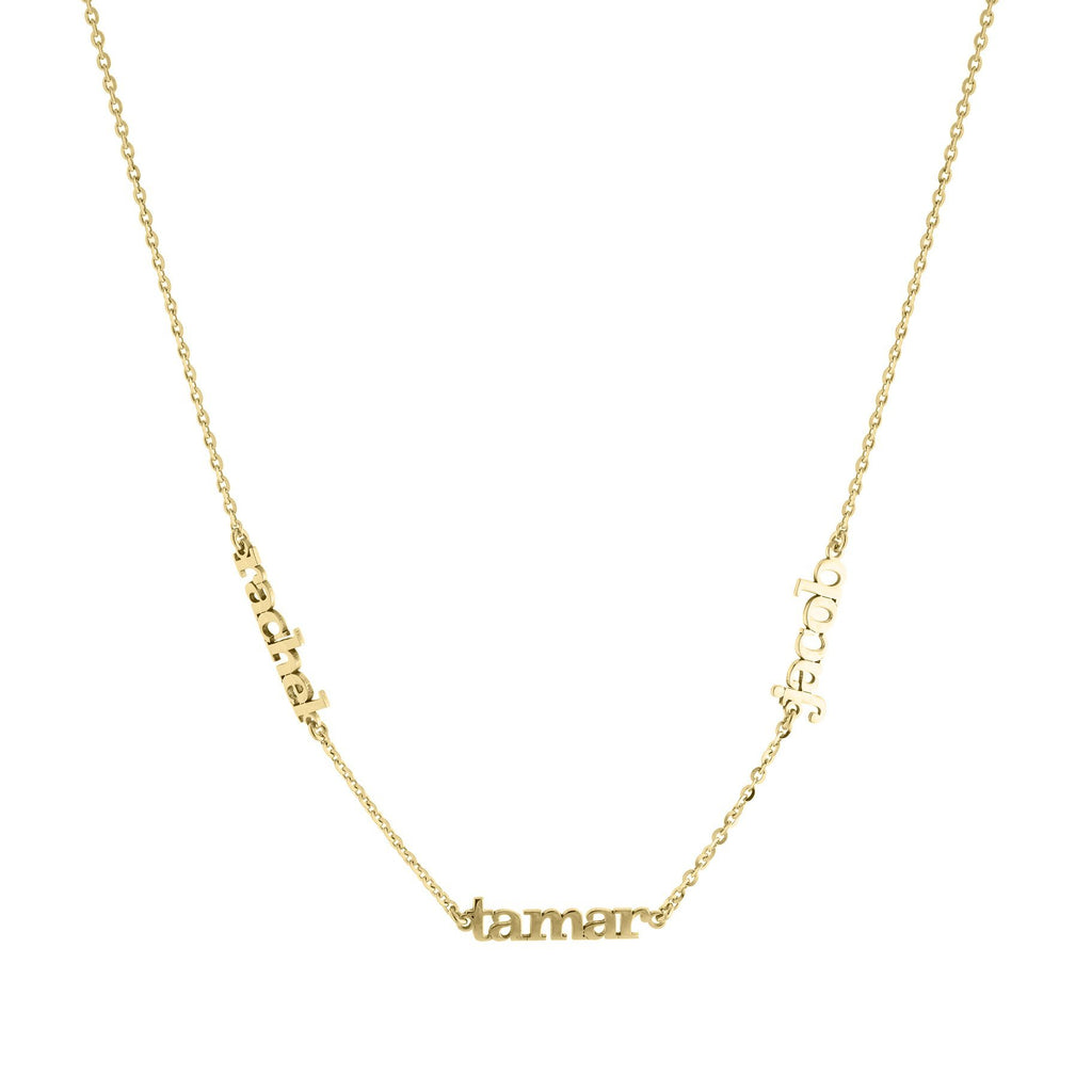 Three Name with Gold or Platinum Block Letters finish Necklace