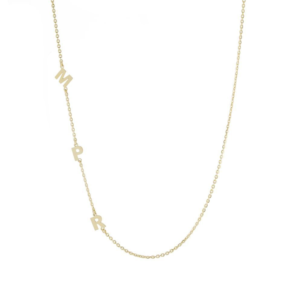 Three letters on side Gold or Platinum finish Necklace