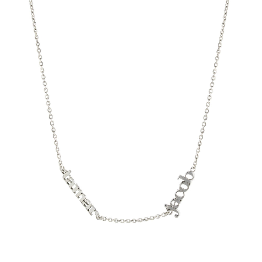 Two Name with Block Letters Gold or Platinum finish Necklace
