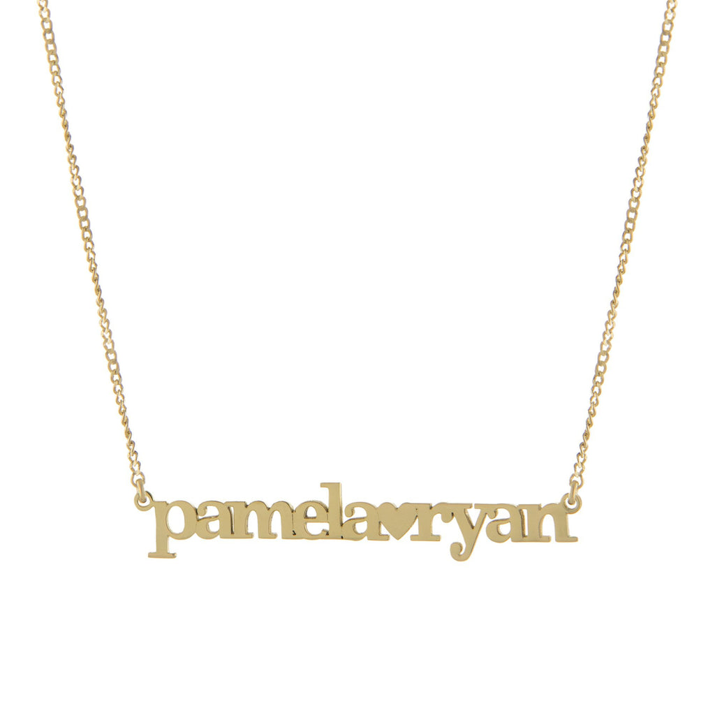 Two Name with Block Letters and Heart with Gold or Platinum finish Necklace