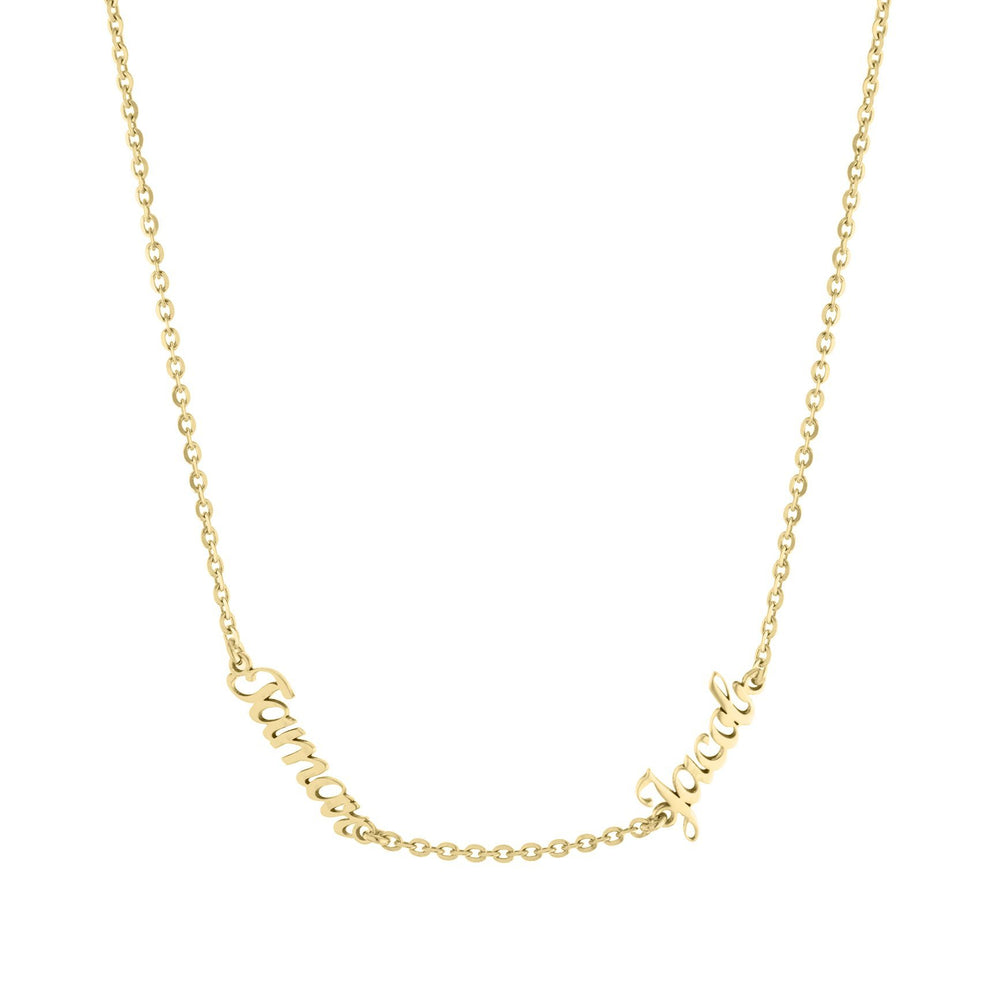 Two Name with Cursive Letters Gold or Platinum finish Necklace