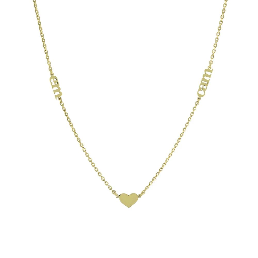 Two Name with lowercase block letters and heart seperated Gold or Platinum finish Necklace