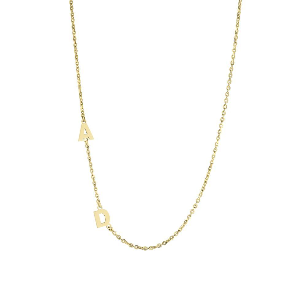 Two letters on side Gold or Platinum finish Necklace