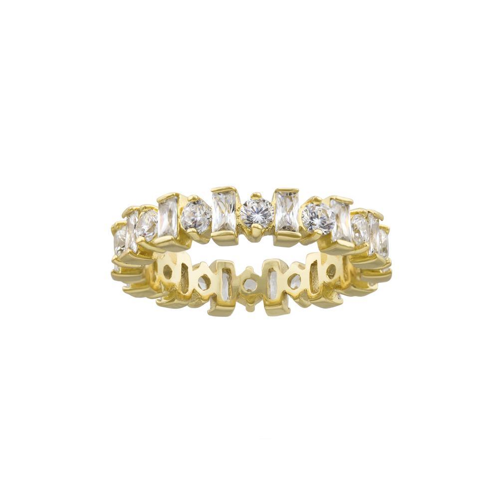 Royal Crown Eternity Band with Fine Round and Bacquette CZ with Gold finish Ring