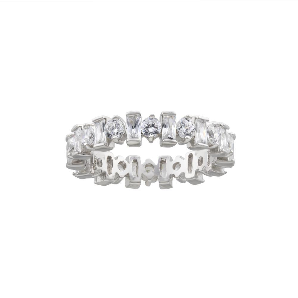 Royal Crown Eternity Band with Fine Round and Bacquette CZ with Platinum finish Ring