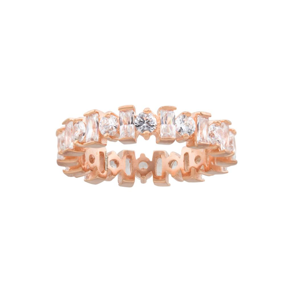 Royal Crown Eternity Band with Fine Round and Bacquette CZ with Rose Gold finish Ring