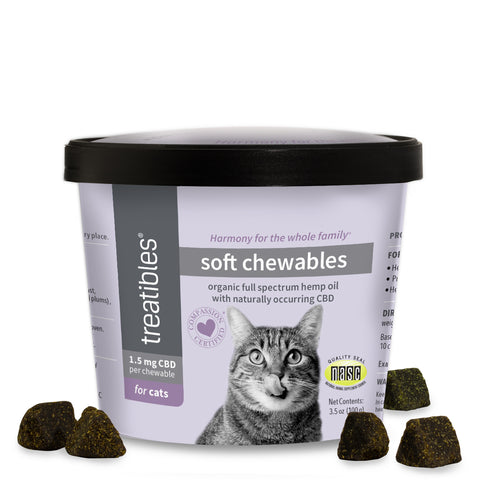 Treatibles® Whole Plant Full Spectrum Hemp Oil Infused Soft Chews for Cats