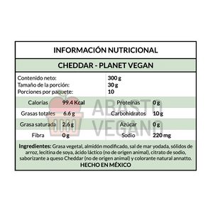 Queso Cheddar rallado 300g - Planet Vegan