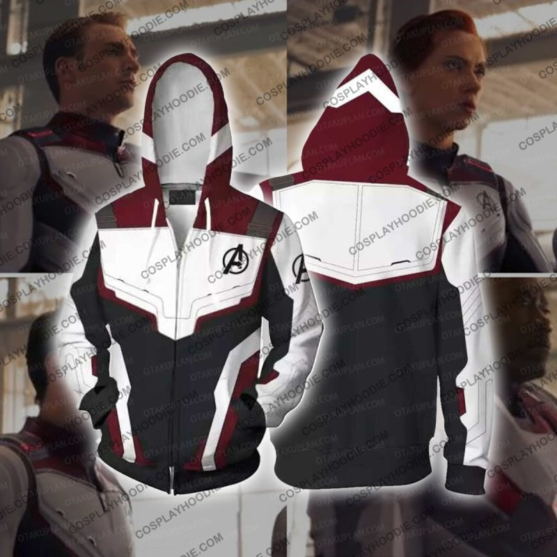 The Avengers 4 Avengers: Endgame Quantum Suits White Suit Cosplay T-Shirt Zip Up Hoodie / Us Xs