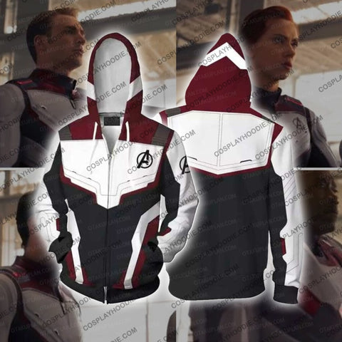 Image of The Avengers 4 Avengers: Endgame Quantum Suits White Suit Cosplay T-Shirt Zip Up Hoodie / Us Xs