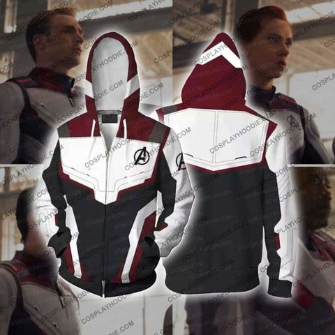 The Avengers 4 Avengers: Endgame Quantum Suits White Hoodie Cosplay Jacket Zip Up / Us Xs (Asian S)
