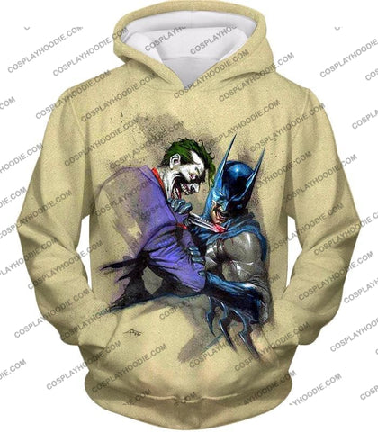 Image of Dc Comic Favourite Joker X Batman Awesome Grey T-Shirt Bm001 Hoodie / Us Xxs (Asian Xs)