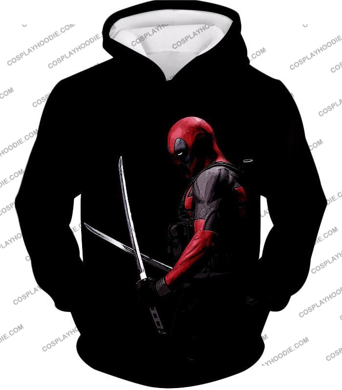 Marvels Ultimate Mercenary Deadpool Cool Black T-Shirt Dp001 Hoodie / Us Xxs (Asian Xs)